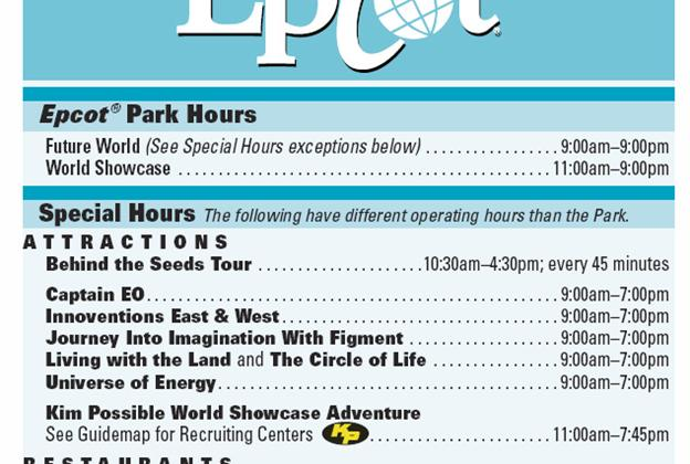 Times Guide with new Future World hours