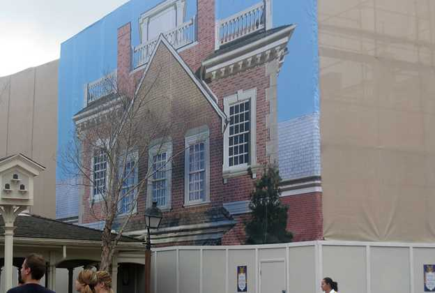 Hall of Presidents exterior screen scene