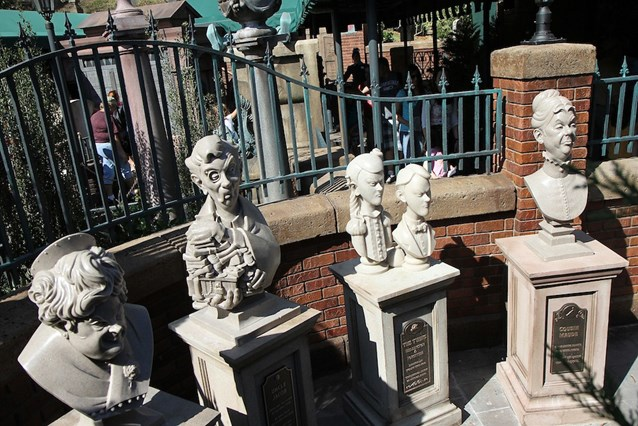 Haunted Mansion - Busts that are not yet in operation, but appear to be setup in a similar style to the mini-game that was tested back in April of 2010