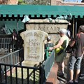 Haunted Mansion - Master Gracey tombstone in the center of the new queue