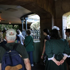 24 of 24: Haunted Mansion - Rejoining the old queue area just in front of the Mansion doors