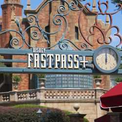 New Haunted Mansion entrance signage for FastPass and Standby lines