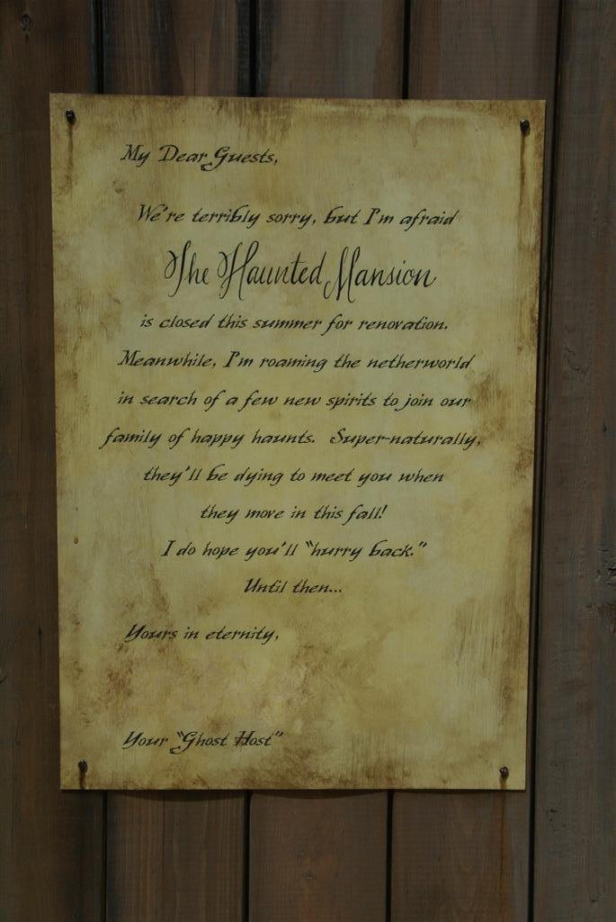 Haunted Mansion closed for refurbishment signs