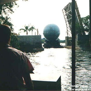 26 of 37: IllumiNations - The Laser Barge being driven through the open bridge into the lagoon.