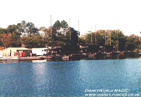 IllumiNations - The Maxi Barges parked in the marina. The pyro compound is just to the left.