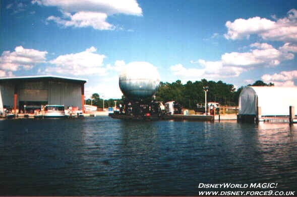 IllumiNations - The Laser Barge docked in the marina.