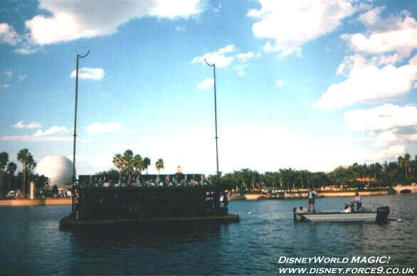 IllumiNations - Each Maxi Barge faces a quarter of the World Showcase area.