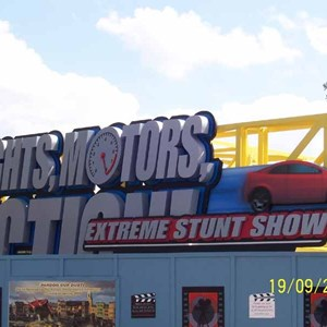 1 of 1: Lights, Motors, Action! Extreme Stunt Show - Lights, Motors, Action sign construction complete