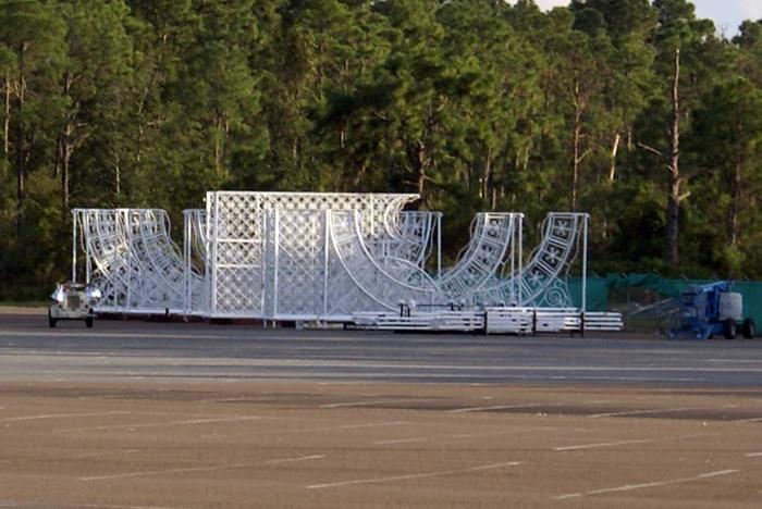 Lights of Winter in the Epcot parking lot prior to installation