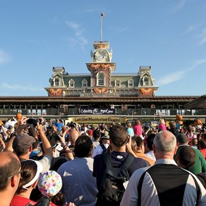 2 of 12: Magic Kingdom - Crowds gather at the entrance to the Magic Kingdom to see the welcome show