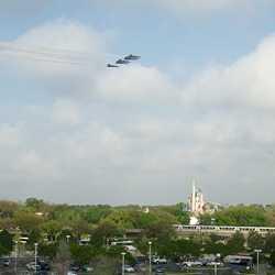 U.S. Navy Blue Angels F18 flyover of the Magic Kingdom