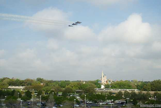 U.S. Navy Blue Angels F18 flyover of the Magic Kingdom