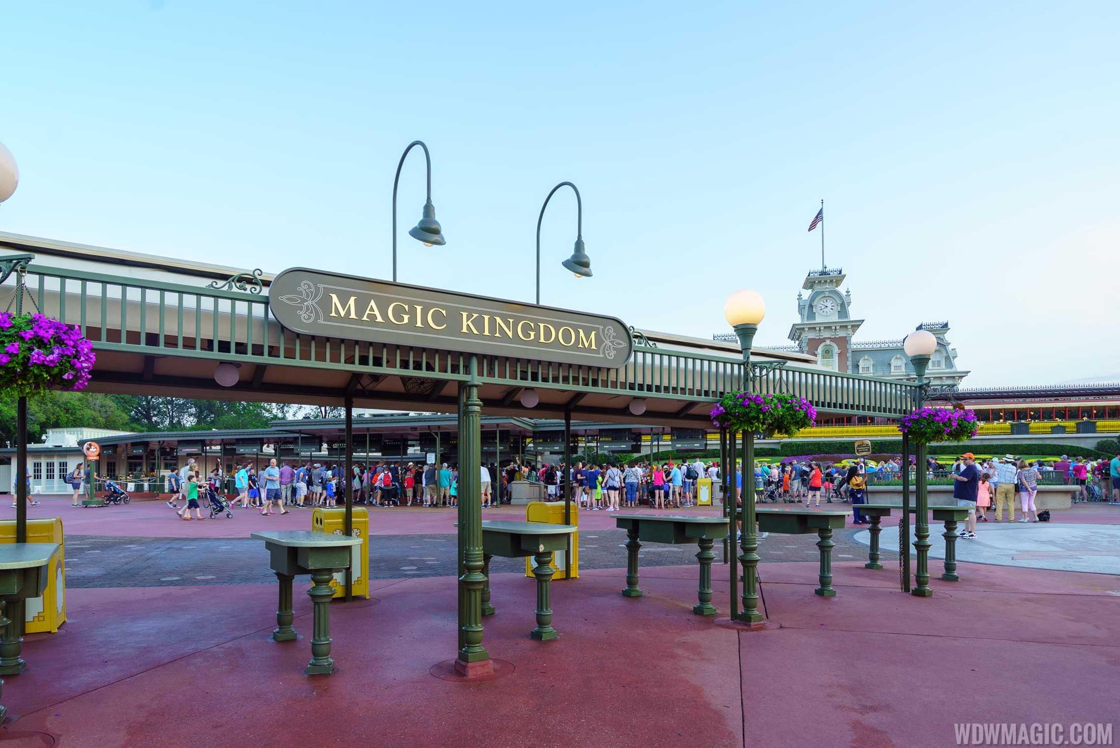 Magic Kingdom entrance empty bag check area