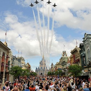 1 of 1: Magic Kingdom - US Air Force Thunderbirds fly over the Magic Kingdom