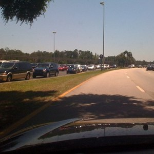 5 of 5: Magic Kingdom - Cars lined up at the parking toll unable to enter.