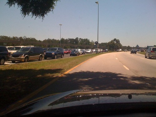 Magic Kingdom - Cars lined up at the parking toll unable to enter.