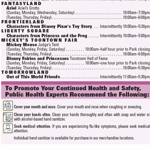1 of 2: Magic Kingdom - Public health notice and guidelines found on the Magic Kingdom times guide