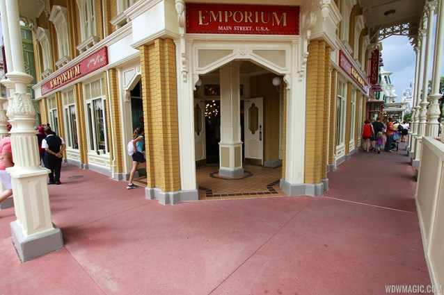 Main Street, U.S.A. - Completed section of new concrete on the corner of the Emporium