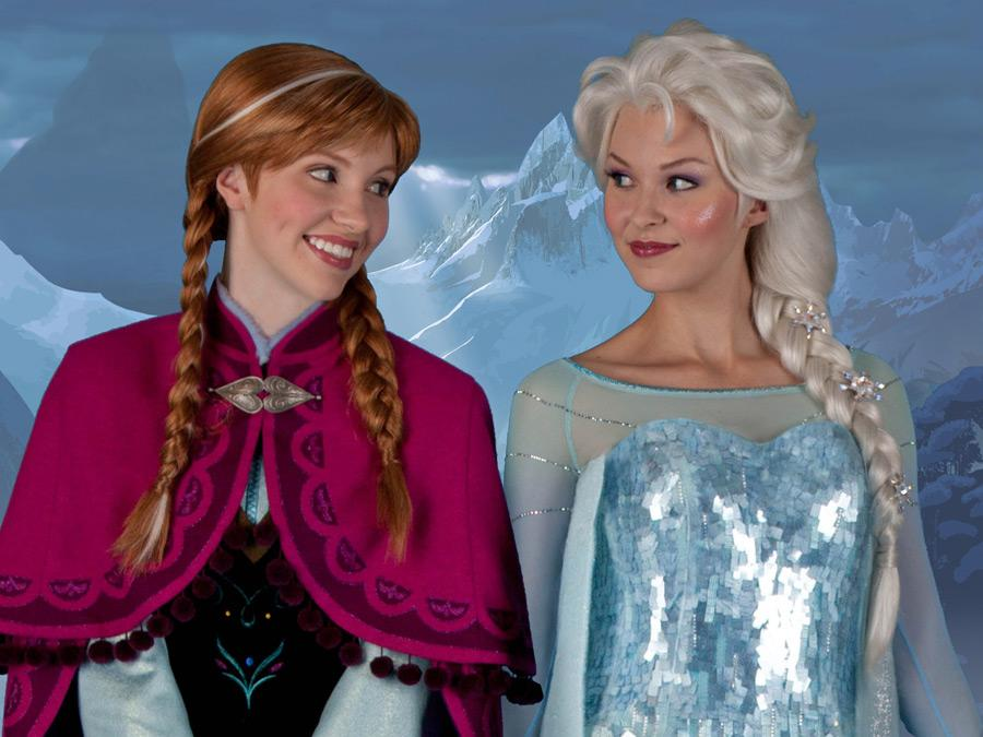 Elsa and Anna - characters from Frozen appearing at Epcot