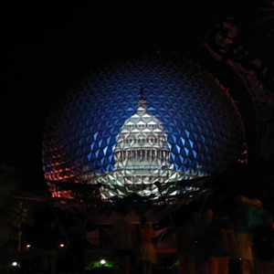 1 of 2: IllumiNations: Reflections of Earth - Images projected onto Spaceship Earth.