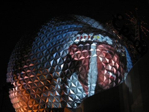 IllumiNations: Reflections of Earth - Images projected onto Spaceship Earth.