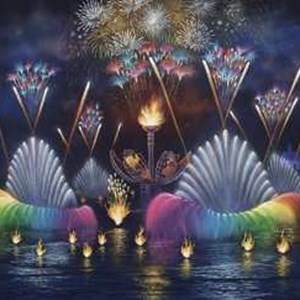 1 of 2: IllumiNations: Reflections of Earth - Concept art of the full lagoon.