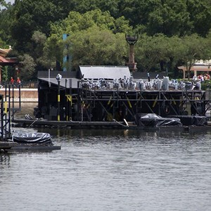 3 of 11: IllumiNations: Reflections of Earth - Fountain Maxi Barge with the extra July 4 launcher attached to the rear.