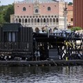 IllumiNations: Reflections of Earth - A closeup of the Maxi barge from the front.
