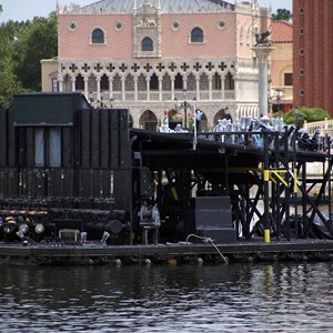 5 of 11: IllumiNations: Reflections of Earth - A closeup of the Maxi barge from the front.