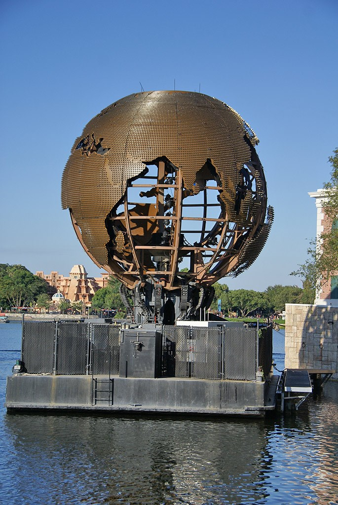 Close-up photos of the newly refurbished Earth Barge LED display system