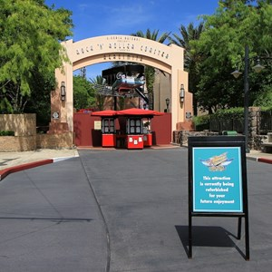 1 of 2: Rock 'n' Roller Coaster Starring Aerosmith - Courtyard and attraction closed for refurbishment