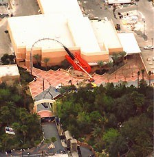 1 of 1: Rock 'n' Roller Coaster Starring Aerosmith - Overhead view of Rock n Roller Coaster