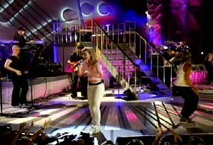 3 of 6: Rock 'n' Roller Coaster Starring Aerosmith - Britney Spears performs at Rock n Roller Coaster