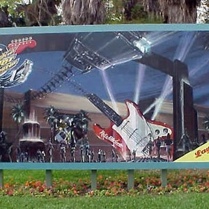 1 of 1: Rock 'n' Roller Coaster Starring Aerosmith - Main entrance billboard announcing Rock n Roller Coaster
