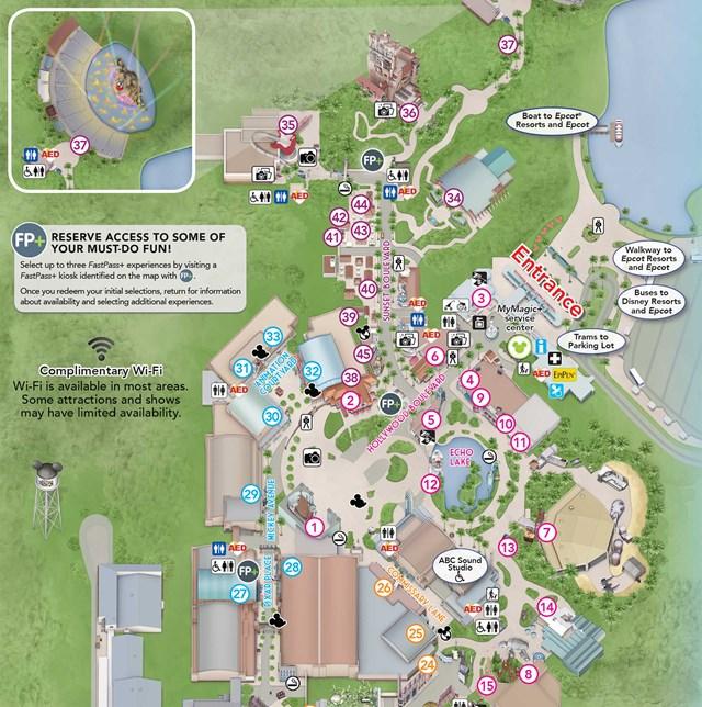 Map of Hollywood Studios 2014 Hollywood Studios Map 2015