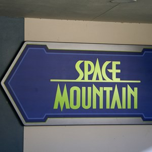 1 of 9: Space Mountain - The new Space Mountain sign at the entrance to the mountain when riding the TTA
