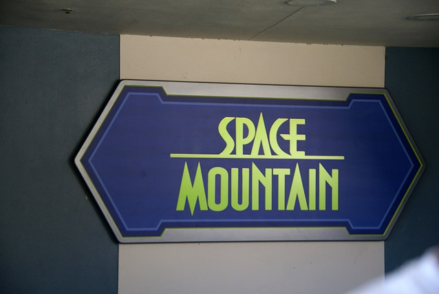 Space Mountain - The new Space Mountain sign at the entrance to the mountain when riding the TTA