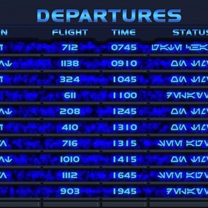 1 of 1: Star Tours - The Adventures Continue - Star Tours II departures board