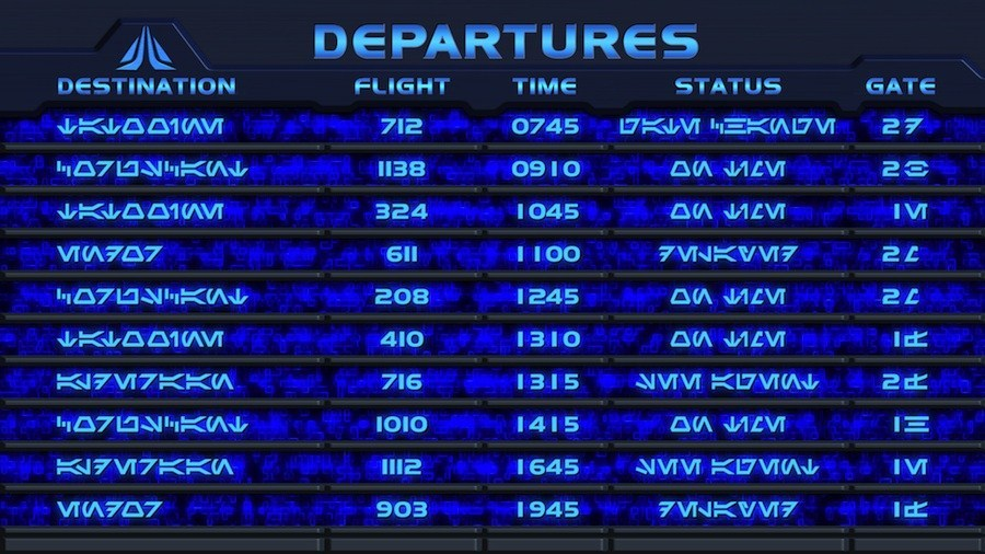 Star Tours II departures board