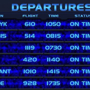 1 of 1: Star Tours - The Adventures Continue - Star Tours II departures board - part 2