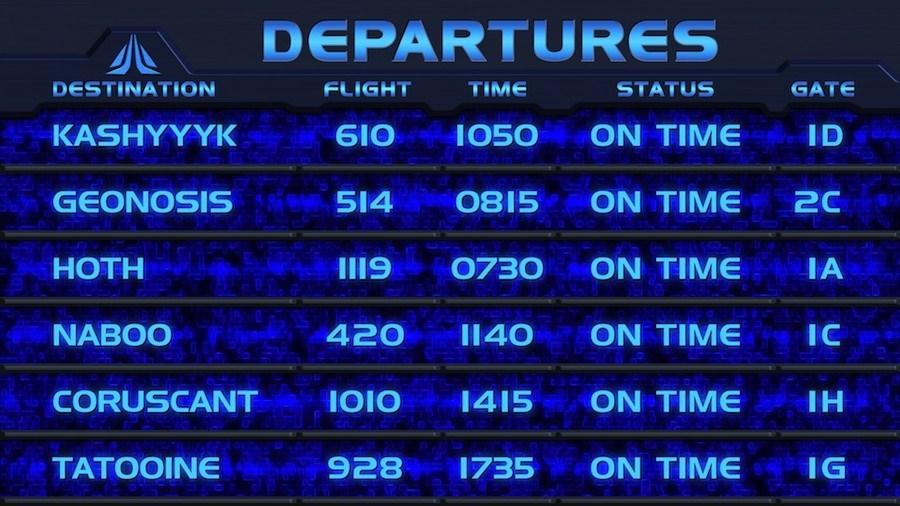Star Tours II departures board - part 2