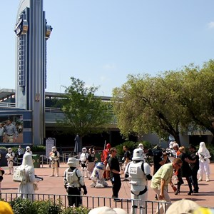 13 of 15: Star Tours - The Adventures Continue - C3PO leads the parade to Star Tours