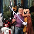 Star Tours - THE FUN OF THE FORCE: &quot;Star Wars&quot; creator George Lucas meets Jedi Mickey Mouse, Princess Leia Minnie, Darth Goofy and the loveable Disney droid R2-MK, Aug. 14, 2010 at Disney&#39;s Hollywood Studios theme park. The legendary filmmaker attended a special event at the theme park held in honor of the &quot;Star Wars&quot;-themed thrill attraction, Star Tours. 