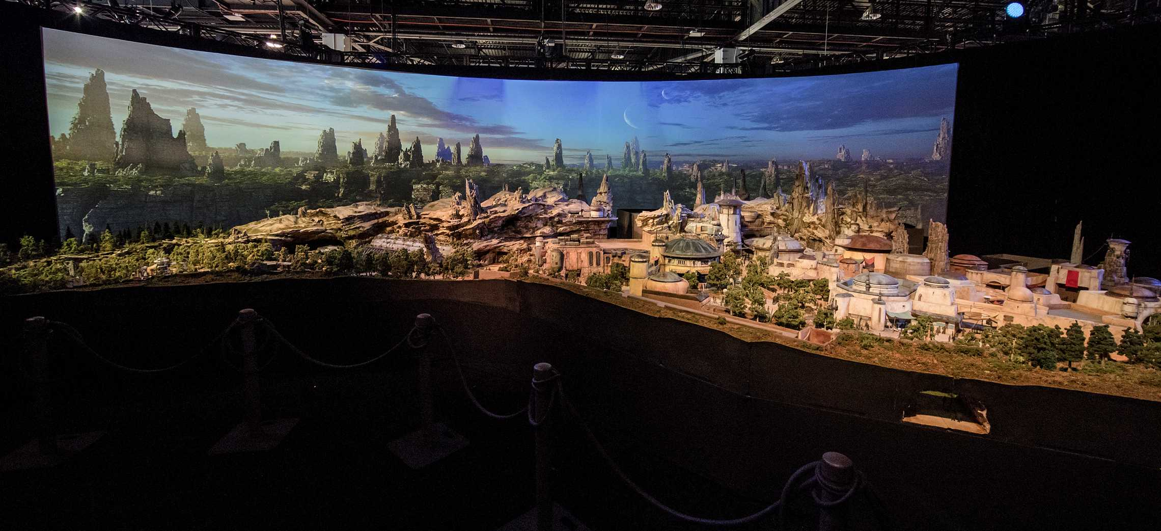 The Star Wars Land model on display at D23 Expo