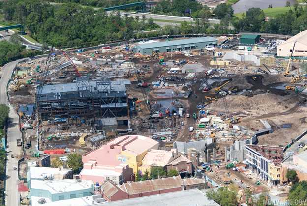 Star Wars Galaxy's Edge construction aerial views