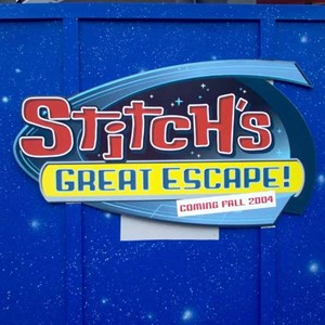 1 of 3: Stitch's Great Escape! - Construction wall and coming soon signage