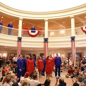 11 of 20: The American Adventure (Pavilion) - Voices of Liberty July 4 show inside the America Adventure Rotunda featuring a shadow choir on the upper level