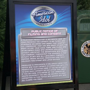 1 of 19: The American Idol Experience - The Public Notice of Consent for all guests entering the studios today - you may well be on TV and every other conceivable broadcast media!