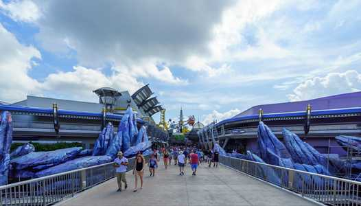 PHOTOS - Both sides of Tomorrowland entrance rock-work updated with new color