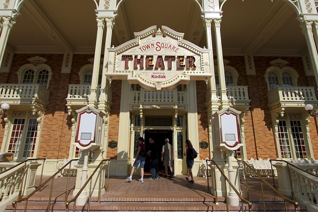 Town Square Theater - The entrance area with the two FASTPASS clocks on either side